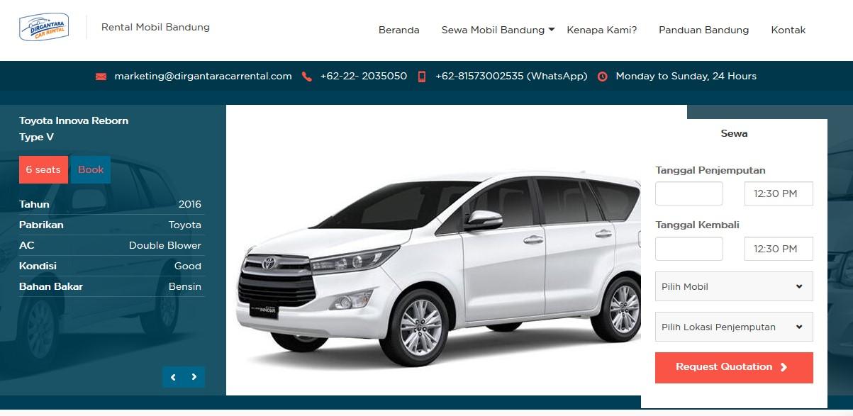 Rental Mobil Bandung Murah Tanpa Sopir