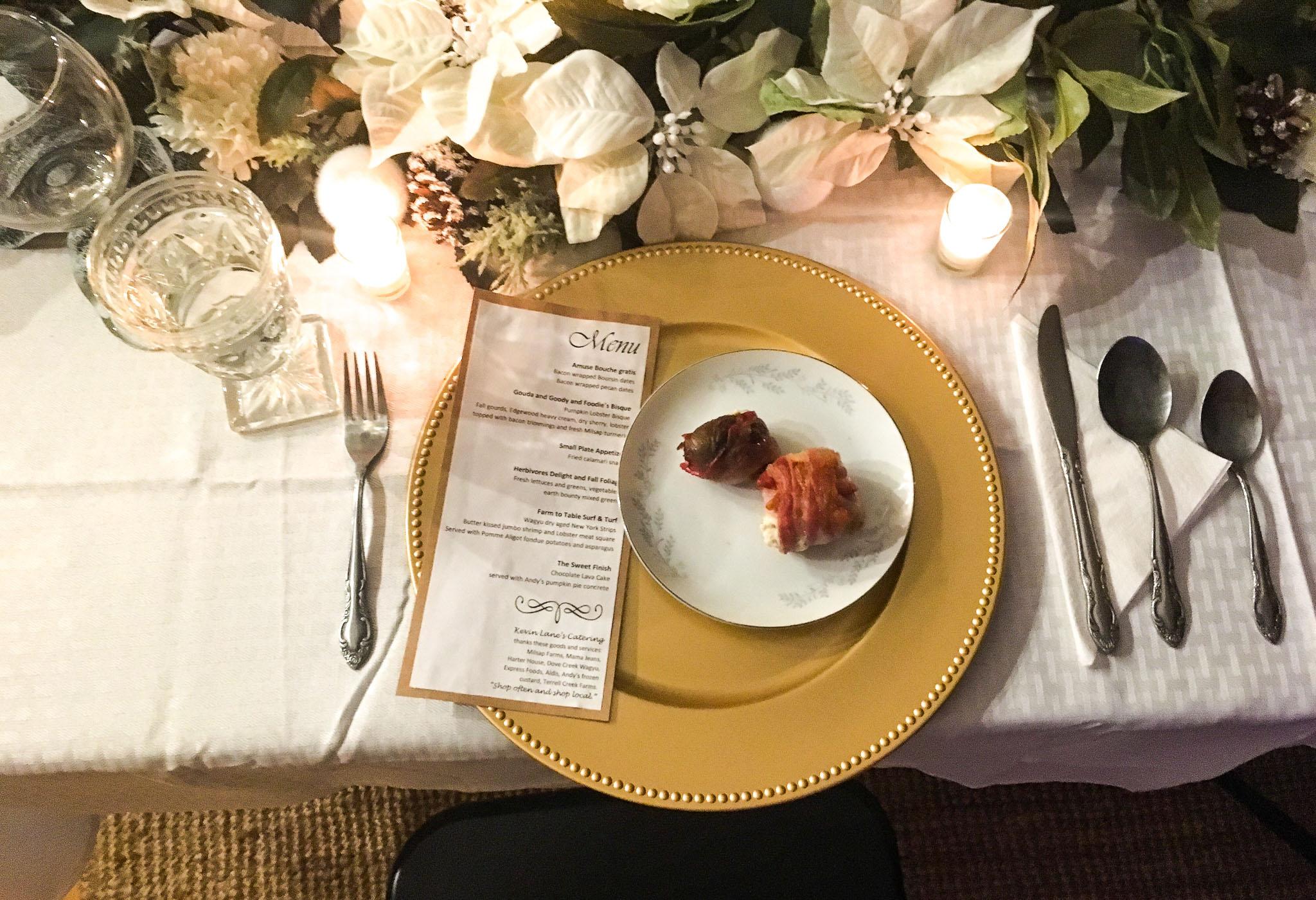 fancy amuse bouche plate with menu