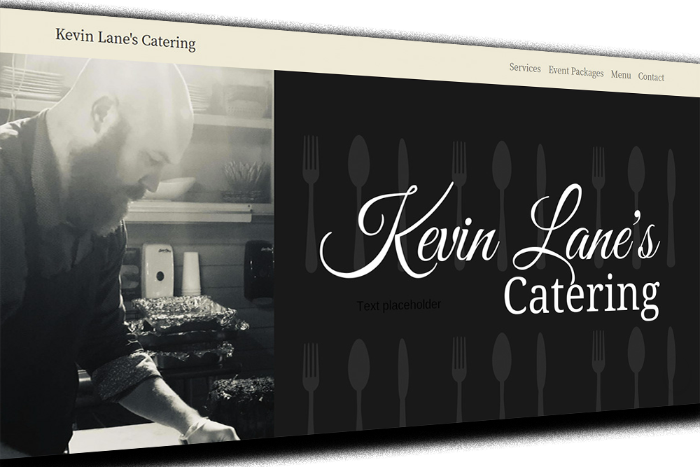 kevin lane's catering website snapshot