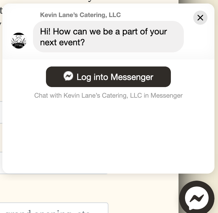 screenshot of facebook messenger plugin