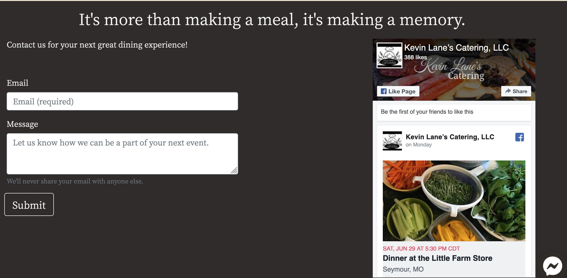 screenshot of kevin lane's catering website footer section