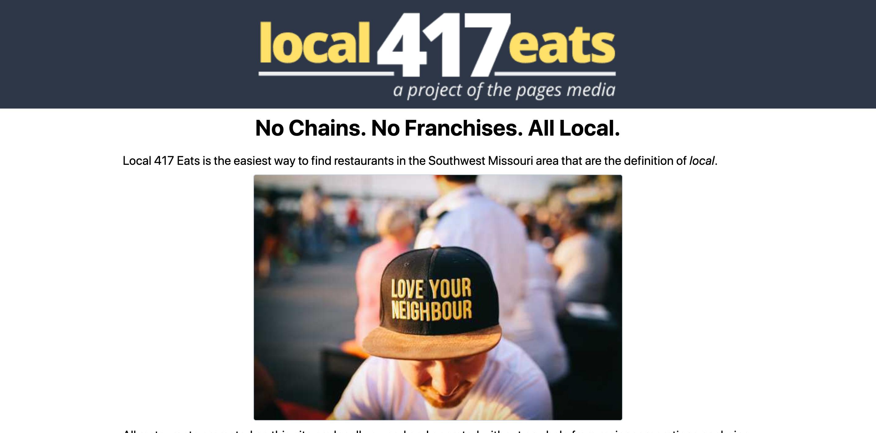 screenshot of local 417 eats website