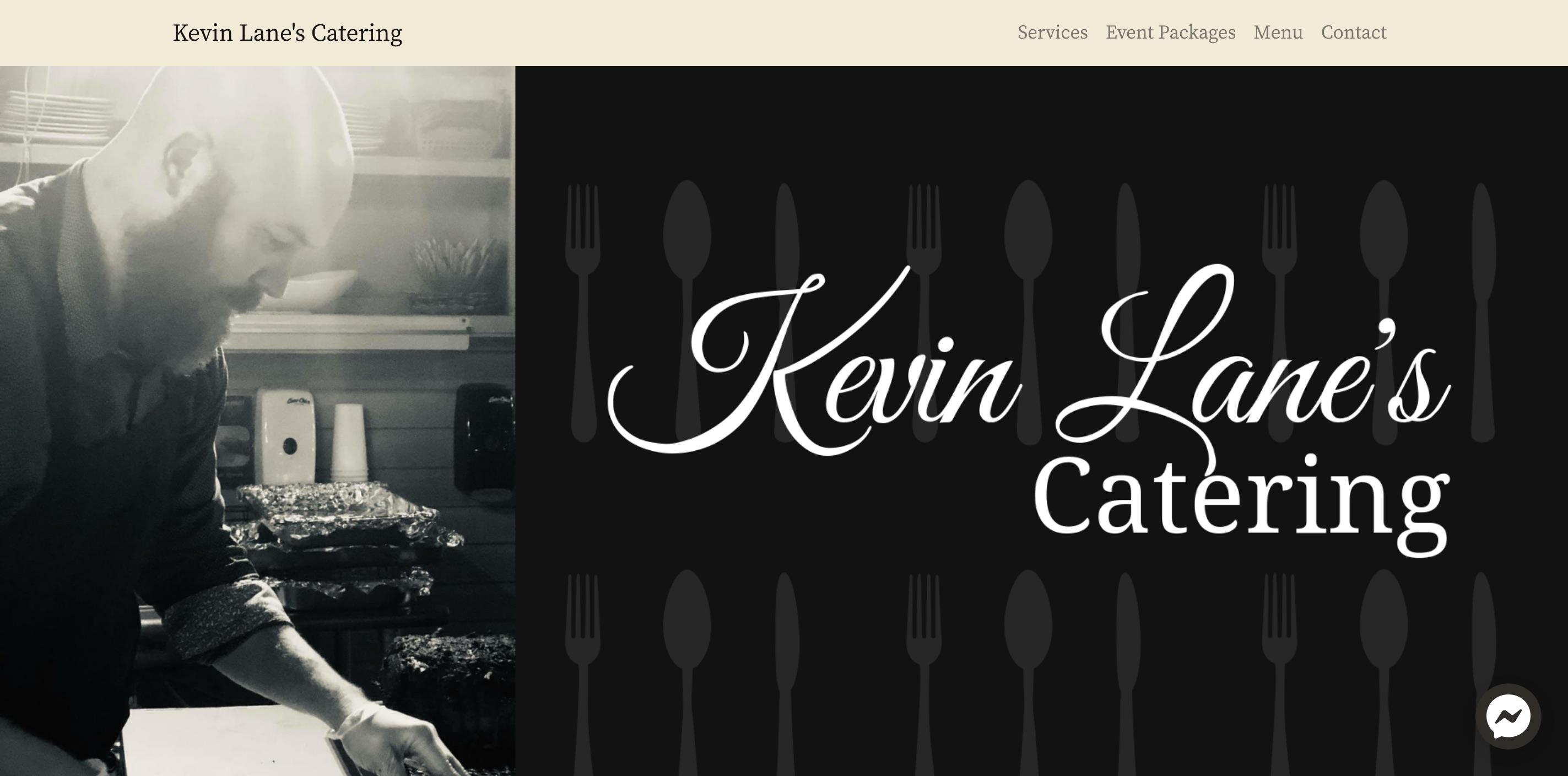 screenshot of kevin lane's catering website