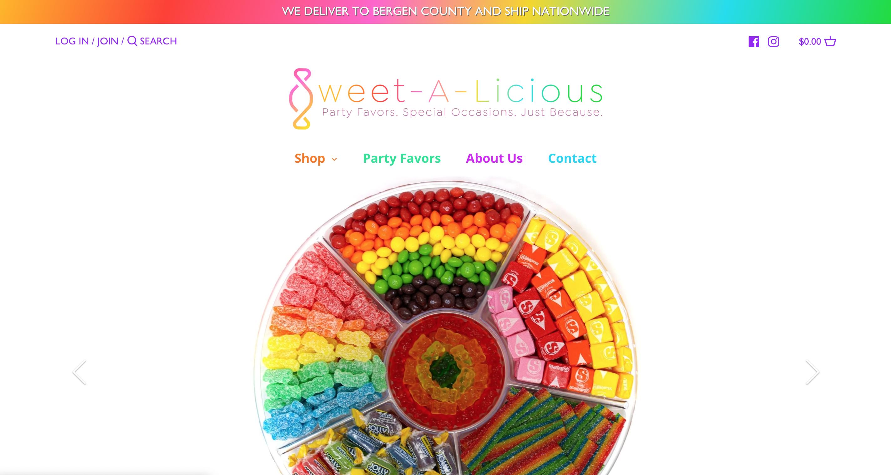 screenshot of sweetalicious website
