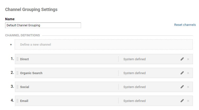 Channel Grouping Settings Reset
