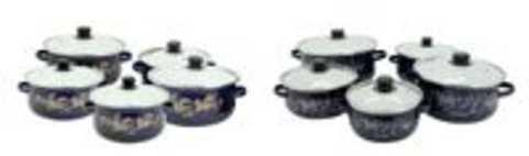Sonashi Enamel Cookware 5Pcs Casserole Set With Lids Yellow & White Fl