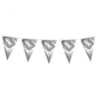 Vlaggen slinger met grote vlaggen (30-45 cm) silver