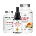 Nutrivian weerstand pakket (Vitamine C 100 tabl,  Vit D3 druppels en Zink methionine)