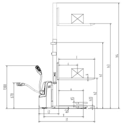 technische zeichnung hochhubwagen