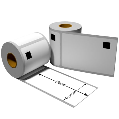 Label für Brother DK11202 62 x 100 mm 300 Label mit wiederverwendbarer Wechselhalterung