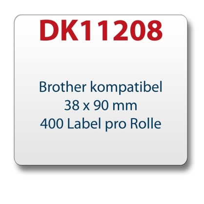 1x label compatible with the Brother DK11208 38 x 90 mm 400 Label with reusable change holder