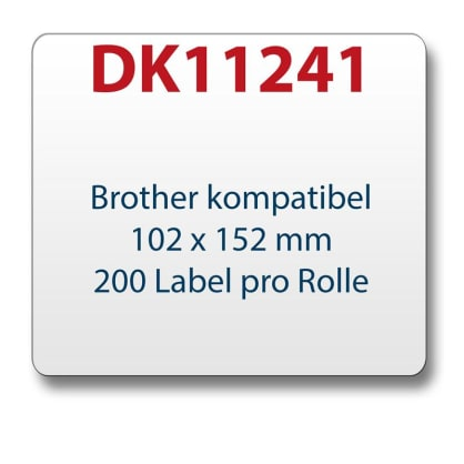 1x label compatible with the Brother DK11241 102 x 152 mm 200 labels with reusable change holder