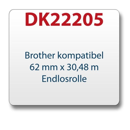 1x Label compatible with the Brother DK22205 62 mm x 30.48 m endless with reusable change holder