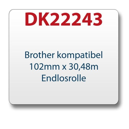 1x Label compatible with the Brother DK22243 102 mm x 30.48 m endless with reusable change holder