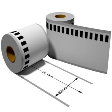 Label für Brother DK22205 62 mm x 30,48 m endlos mit wiederverwendbarer Wechselhalterung