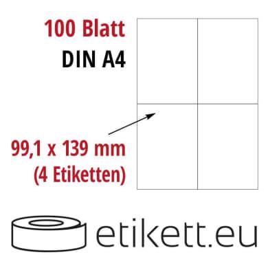 Selbstklebende Laseretiketten DIN A4 Blatt - 4 Stück Etiketten pro Blatt