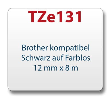 Tape/tape cassette comp. with Brother TZe131 black/clear 12 mm x 8 m