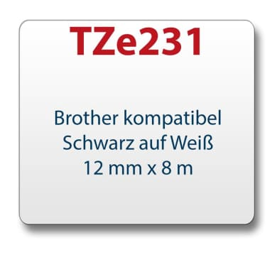 1x Tape/tape cassette comp. with Brother TZe231 black/white 12mm x 8m