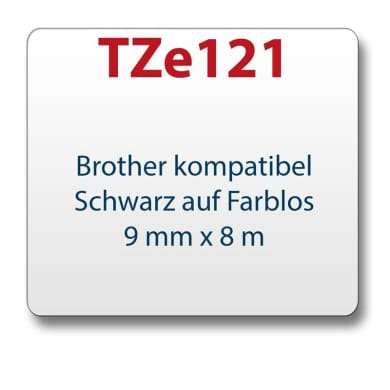 1x Tape/tape cassette comp. with Brother TZe121 black/clear 9 mm x 8 m