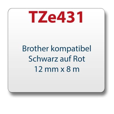 1x Tape/tape cassette comp. with Brother TZe431 black/red 12 mm x 8 m