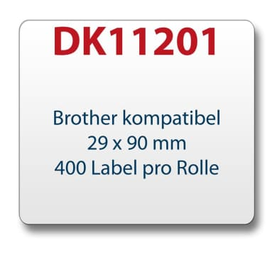 1x label compatible with the Brother DK11201 29 x 90 mm 400 Label with reusable change holder