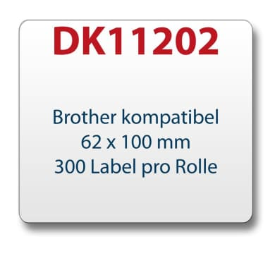 1x label compatible with the Brother DK11202 62 x 100 mm 300 Label with reusable change holder