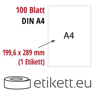 Selbstklebende Laseretiketten DIN A4 Blatt - 1 Stück Etiketten pro Blatt