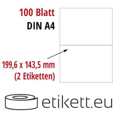 Selbstklebende Laseretiketten DIN A4 Blatt - 2 Stück Etiketten pro Blatt