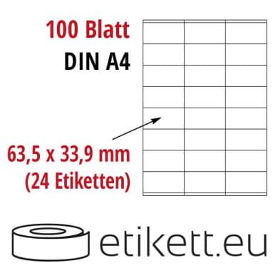 Selbstklebende Laseretiketten DIN A4 Blatt - 24 Stück Etiketten pro Blatt