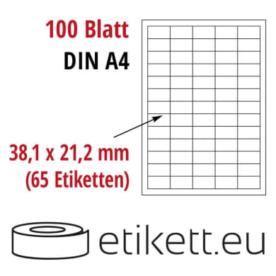 Selbstklebende Laseretiketten DIN A4 Blatt - 65 Stück Etiketten pro Blatt