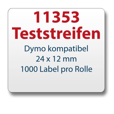 Test strips Dymo-compatible label 11353 24x12mm