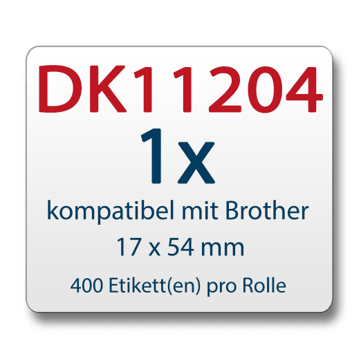 Etiketten für Brother P-Touch DK11204 17x54mm