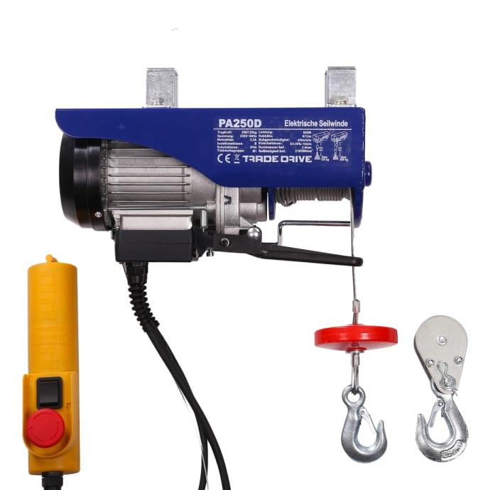 Elektrische Seilwinde mini Tragkraft 125 kg/250 kg 12 m/6 m 230 V