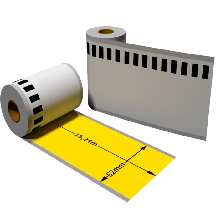 Label kompat. zu Brother DK22606 62mm x 15,24m mit wiederverwendbarer Wechselhalterung