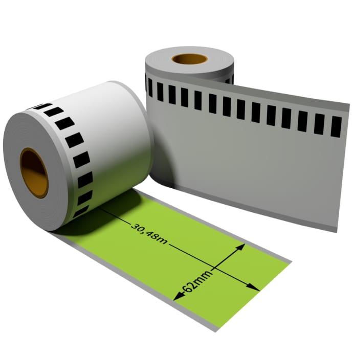 Label farbig f. Brother DK22205 62mmx30,48m endlos mit wiederverwendbarer Wechselhalterung