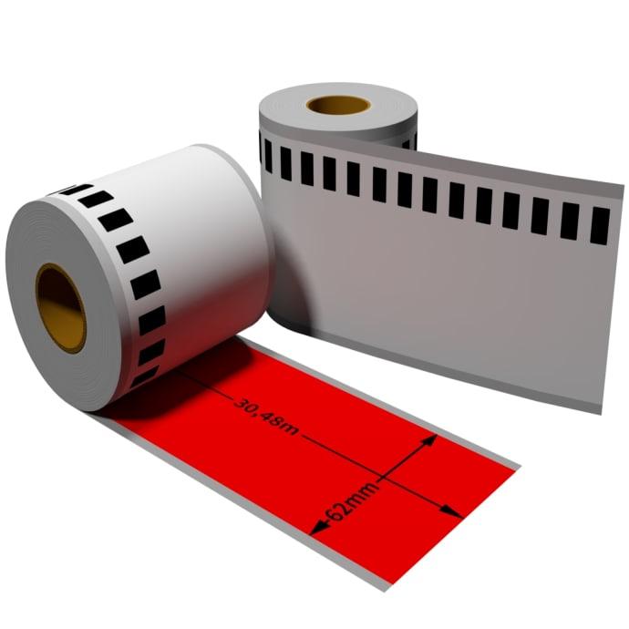 Label farbig f. Brother DK22205 62mm x 30,48 m endlos mit wiederverwendbarer Wechselhalterung