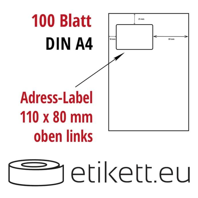 Din A4 Blatt Papier - integriertes Label