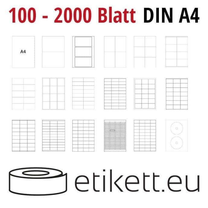 Selbstklebende Laseretiketten DIN A4 Blatt - 56 Stück Etiketten pro Blatt