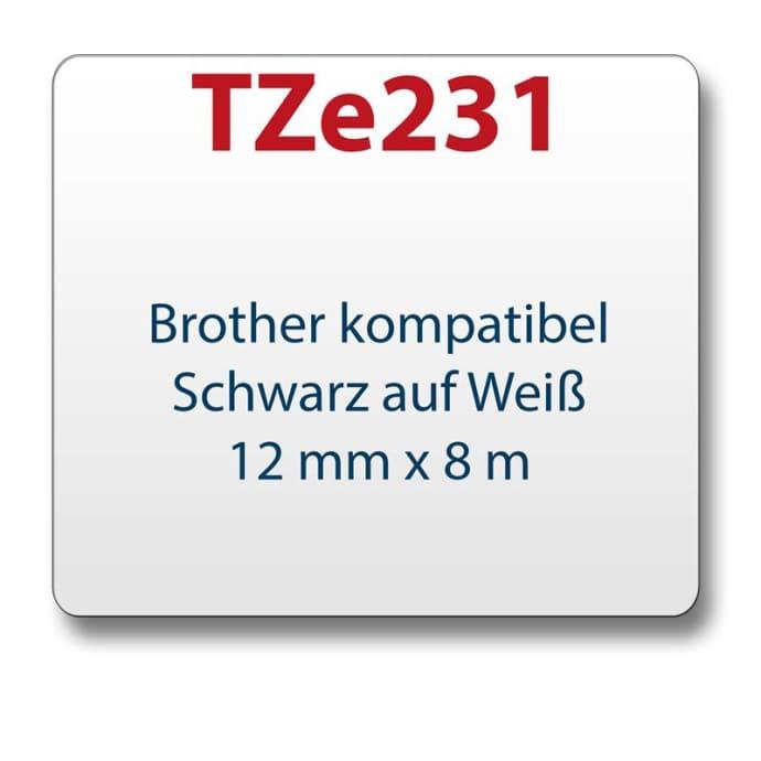 1x Farbband komp. zu Brother TZ231 weiß/schwarz