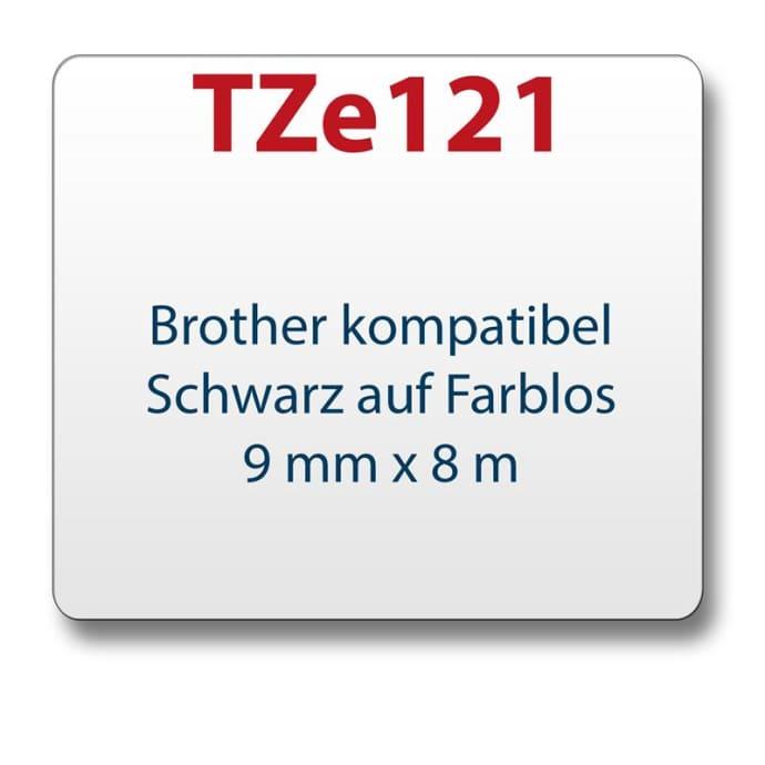 1x Farbband komp. zu Brother TZ121 schwarz/farblos