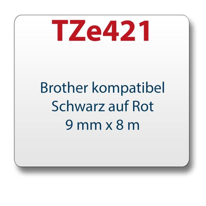 1x Tape/tape cassette comp. with Brother TZe421 black/red 9 mm x 8 m