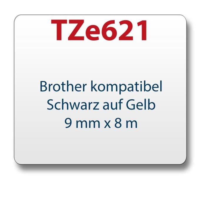 1x Farbband komp. zu Brother TZ621 gelb/schwarz