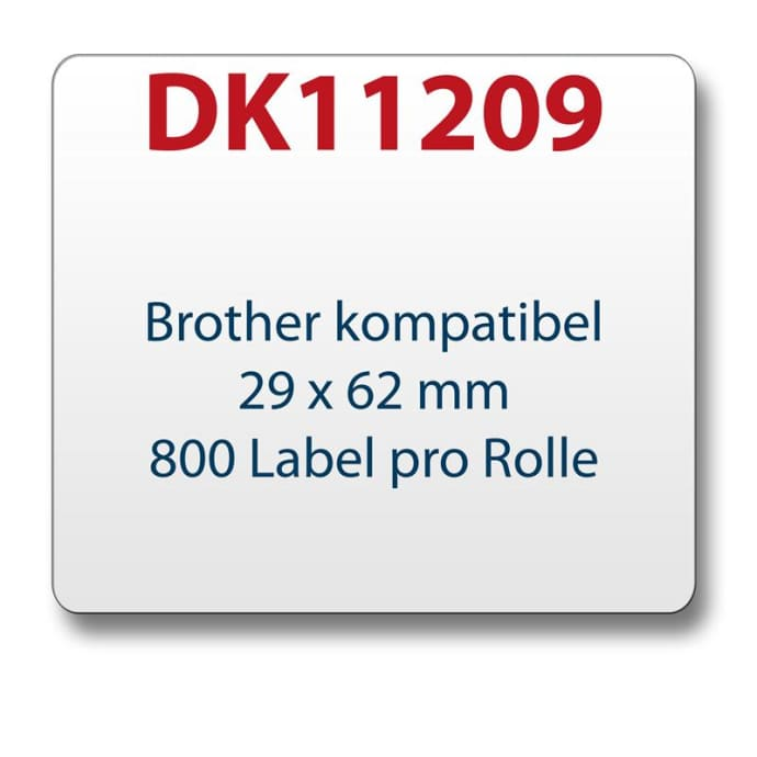 1x label compatible with the Brother DK11209 29 x 62 mm 800 Label with reusable change holder