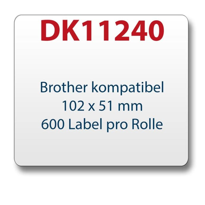 1x label compatible with the Brother DK11240 102 x 51 mm 600 labels with reusable change holder