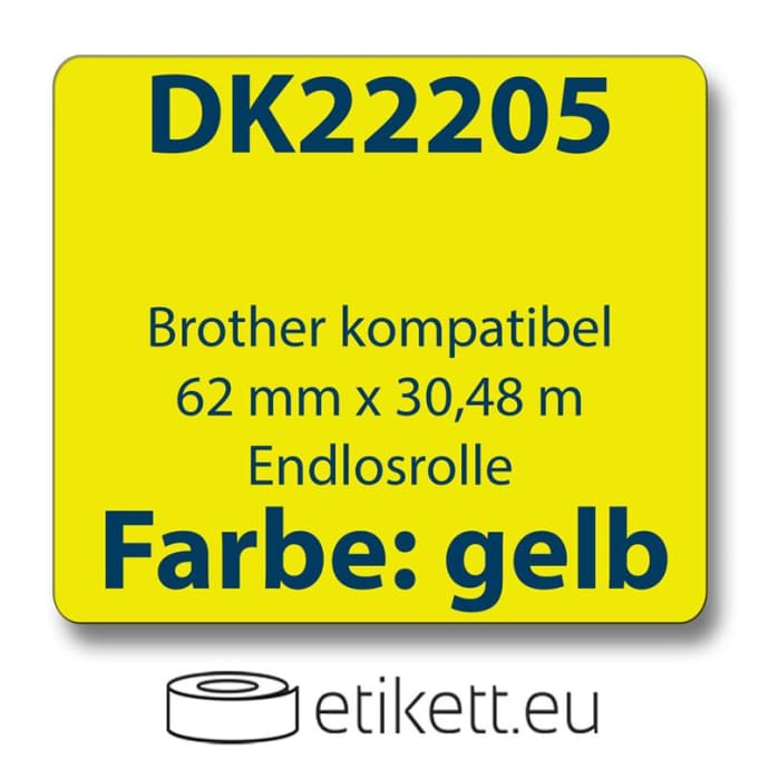 1x Label compatible with the Brother DK22205 62 mm x 30.48 m endless - gelb with reusable change holder