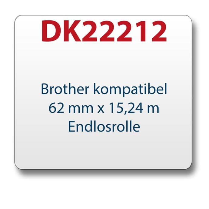 1x Label compatible with the Brother DK22212 62mm x 15.24 m endless with reusable change holder