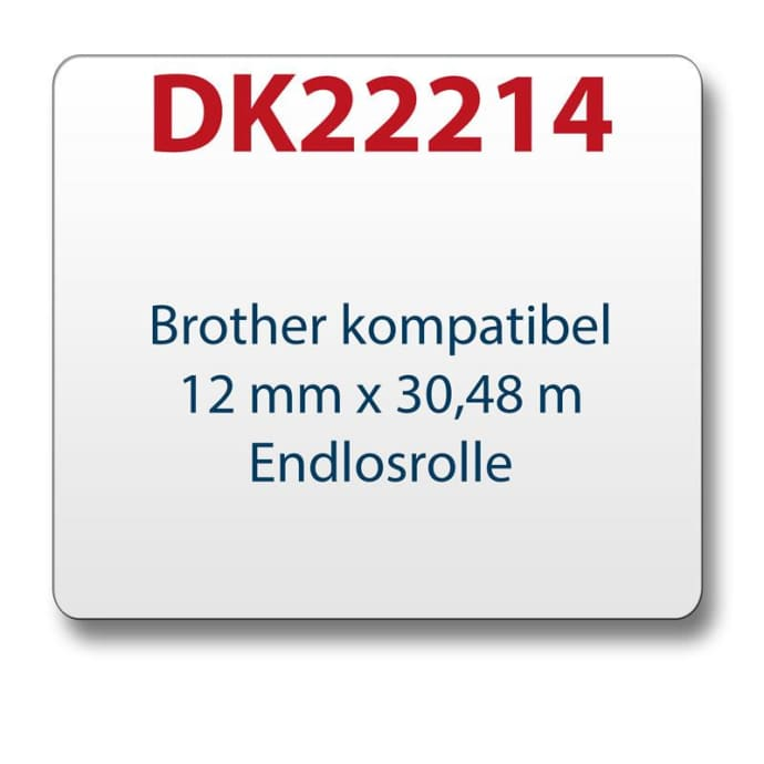1x Label compatible with the Brother DK22214 12 mm x 30.48 m endless with reusable change holder