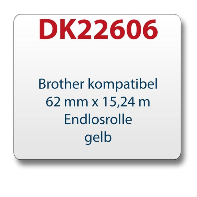 1x Label compatible with the Brother DK22606 62 mm x 15.24 m endless yellow with reusable change holder