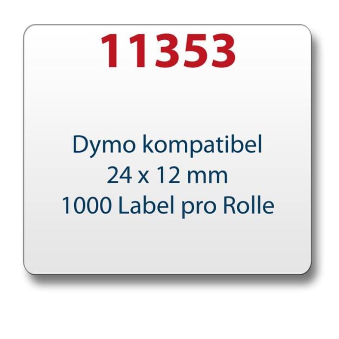 Label kompat. zu Dymo 11353 24 x 12 mm 1000 Labels