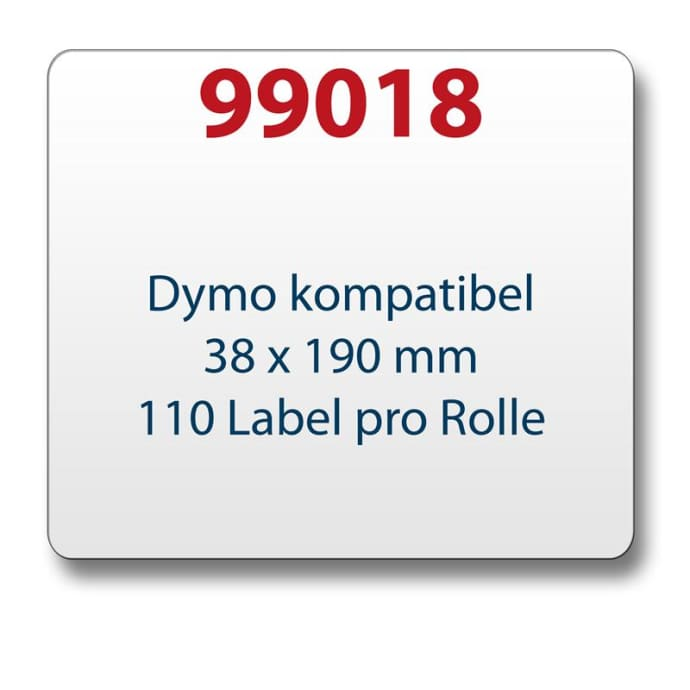 1x label compatible with the Dymo 99018 38 x 190 mm 110 labels per roll